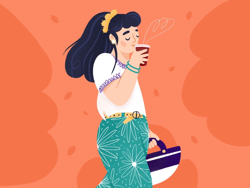Spring and latte stay safe stay home spring latte coffee cup coffee girl character drawing draw art procreateapp procreate digitalart doodle design illustration