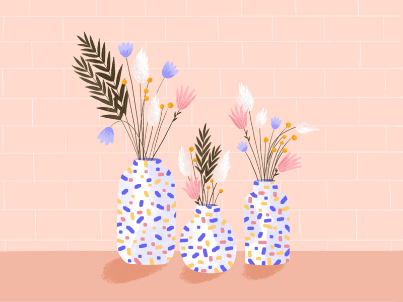 Flowers & pattern flower pattern digital plant procreateapp procreate draw drawing digitalart design doodle illustration