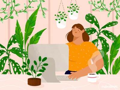 Working at home work at home workspace working space character plant draw procreateapp drawing procreate doodle digitalart design illustration