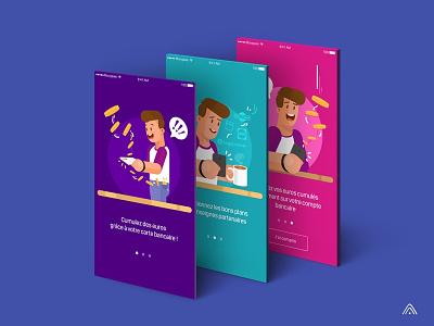Banking app tutorial design app design character screen illustration tutorial concept app app banking app banking bank app bank