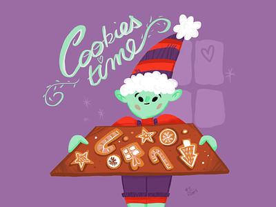 Christmas cookies sketch book doodletime doodle digital art art design characer purple illustation cooking cook elf cookies christmas
