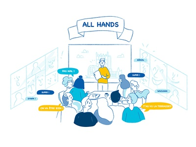 Illustration - Presentation about new workplace meeting people illustrator adobe workspace work coworking vector ui design illustration doodle workplace cocreation presentation