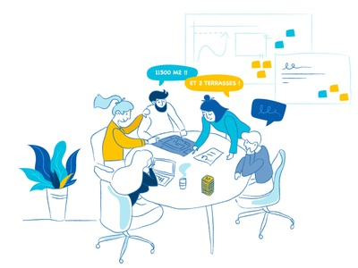 Illustration - New workplace : round table cocreation ux enterprise postit plant workplace goodplace worker workshop work teamwork team people round table ui vector doodle illustration design