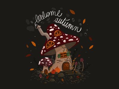 Welcom Autumn drawing draw digitaldrawing digitalart mushroom house illustration