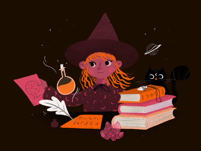 Back to school drawing draw art digitalart illustration potion hat planet witches magic school witch