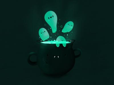 Ghost and cauldron drawing draw art digitalart halloween procreate illustration cauldron ghost