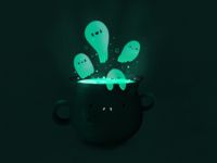 Ghost and cauldron