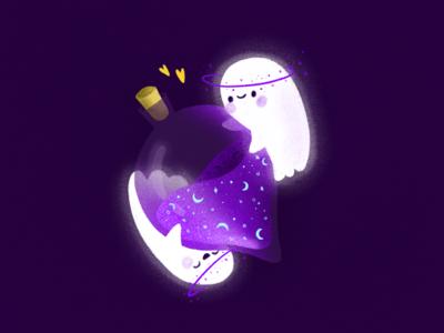 Ghost and cosmos planet cosmos halloween ghost drawing draw procreateapp art procreate digitalart doodle design illustration