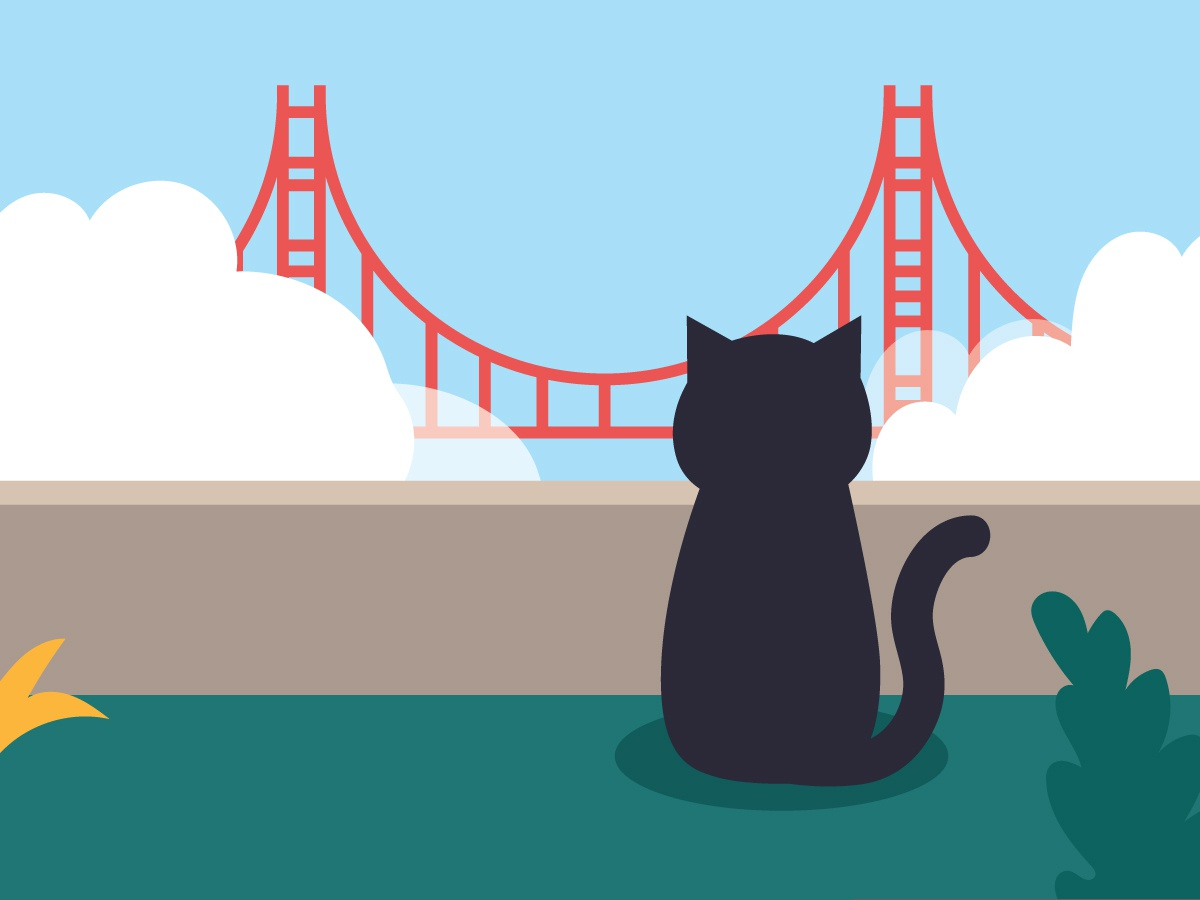 A long time ago, in SF far, far away... golden gate bridge illustration cat