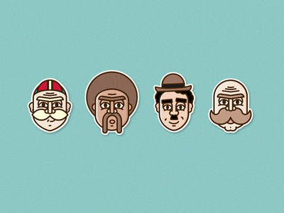 Mustachio sticker chaplin handlebar cyclist movember mustache head face