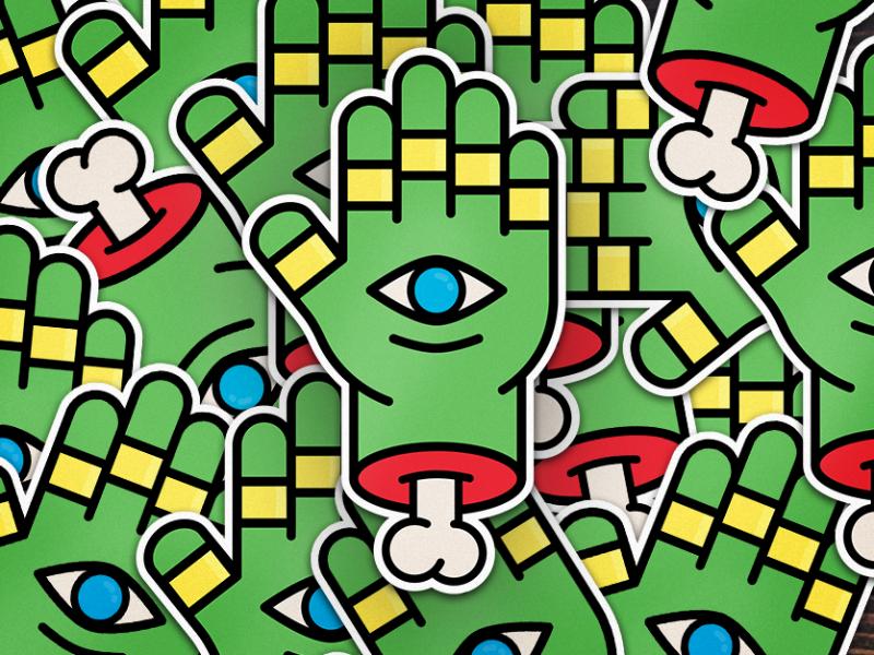 Stickermule rules illustration bone eye hand sticker