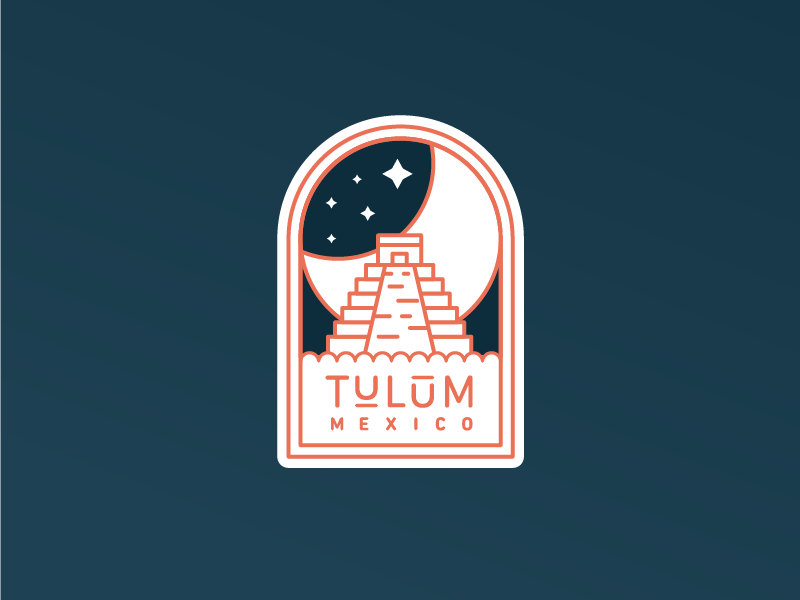 Taking a trip to Tulum patch night moon temple mayan badge mexico tulum