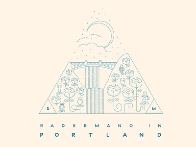 Portland Vaca eclipse roses waterfall multnomah line illustration badge travel portland