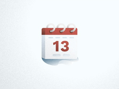 Cal Icon depth stipple texture 13 date calendar red icon illustration