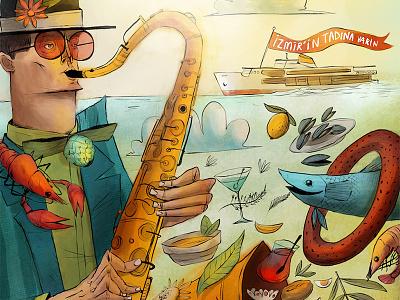 Izmir Gourmet Guide Cover Illustration digitalart cover magazine editorial drawing illustration