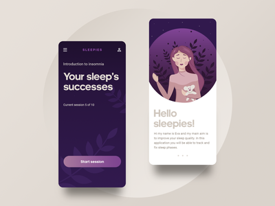 Sleepies app sleeping sleep tracking illustrations character character color palette mobile app sleep application design sleep app gradient design design ui gradients vector illustration