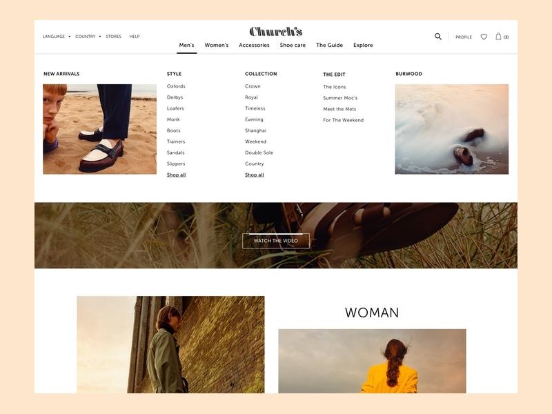 Church's Menu ecommerce ux churchs prada men fashion navigation mega menu drop down drop down menu ui desk menu megamenu