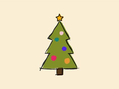 Christmas Tree pine spruce evergreen holidays festive tree christmas illustration
