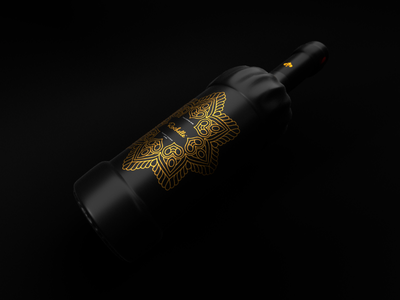 Rochelle: Product Design elegant stylish black gold glass bottle champagne wine product identity 3d packaging