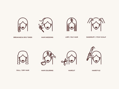 Hair Salon Icon Set beauty salon skincare dermatology clinic salon icon pack iconography icon set fashion monochrome itchy dandruff haircut icon vector illustration hairdresser hair salon hairstyle hair