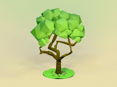 Twisty Tree cinema4d low-poly tree modeling 3d practice low poly