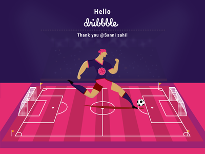 Dribbble invite Welcome shot illusion illustrator photoshop game player emotion trend. love pink vector graphics design fifa world cup 2018 dribbble invite