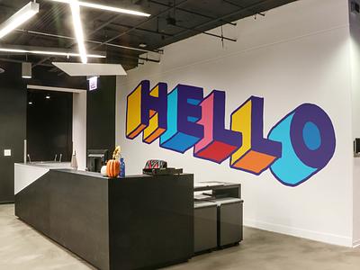 Greeting Desk Mural Design illinois chicago lettering hand drawn vector handdrawntype dimension welcome handdrawn typogaphy illustrations mural illustration