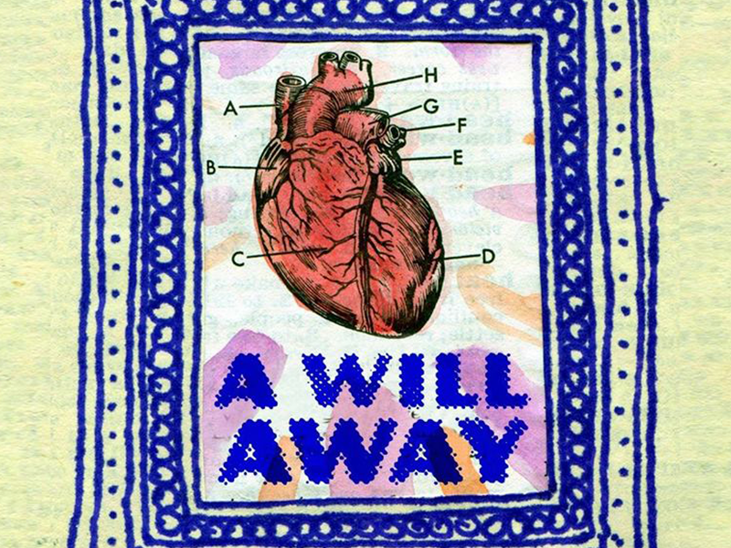 Poster for A Will Away  watercolor hand drawn found band music collage poster