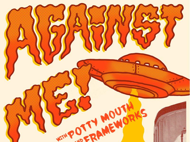 Against Me! Poster Detail lettering hand done music poster illustration poster punk against me