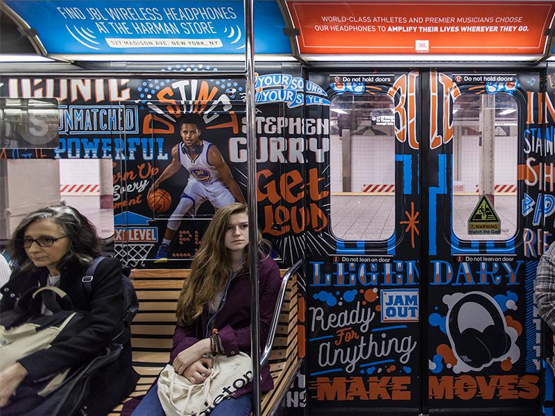 JBL headphones Times Square Subway Wrap  music times square subway lettering curry steph curry basketball illustration handdone headphones jbl