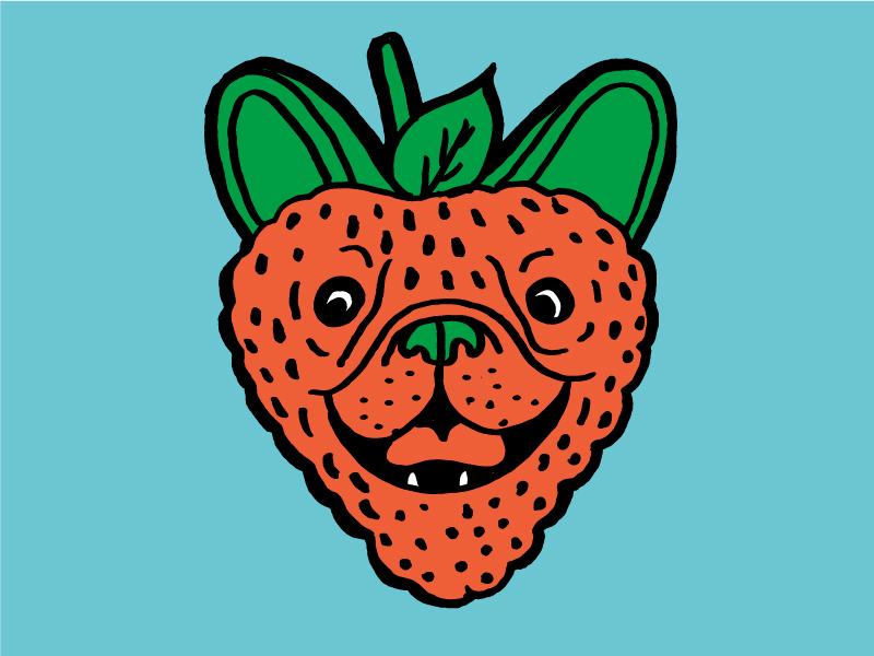 Pugberry fruit dog hand done logo illustration strawberry pug