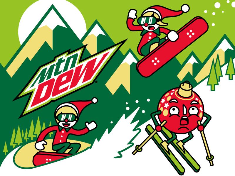 Mountain Dew Winter Scene christmas snowboard illustration