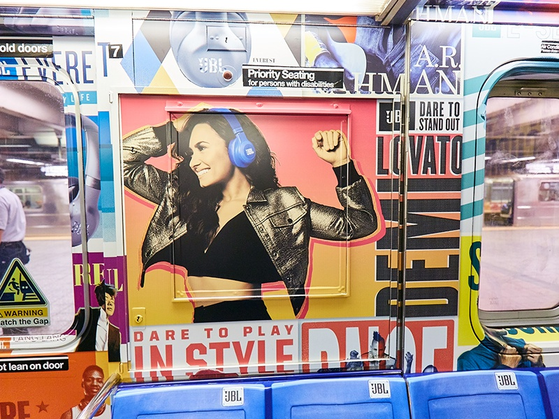 Demi Lovato Times Square Shuttle jbl print layout headphones music demi lovato subway train
