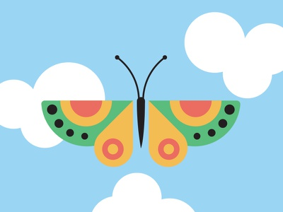 Butterfly mural clouds sky vector butterfly