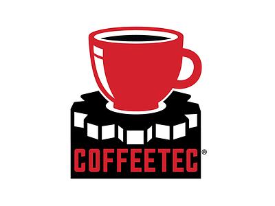 CoffeeTec Logo branding gear flat vector coffee logo