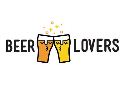 Beer Lovers dating love lovers beer app digital branding vector illustration logo