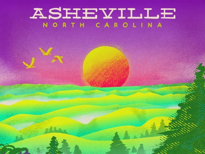 Ashville North Carolina Illustration enviroment scenery landscape north carolina asheville destination hand lettering handlettering hand drawn procreate app procreate illustration