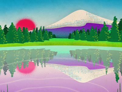 Bend Oregon poster ripple mountain sunset trees texture procreateapp procreate landscape illustration illustraion environment landscape bend oregon bend
