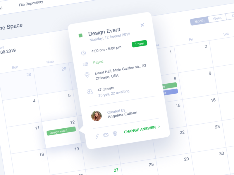 #DailyUI #016 Pop-Up/Overlay 016 calendar design planning schedule menu tabs event dashboad calendar overlay popup inspiration education dailyui app interface web design ux ui
