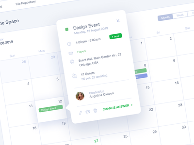 #DailyUI #016 Pop-Up/Overlay 016 calendar design planning schedule menu tabs event dashboad calendar overlay popup inspiration education dailyui app interface web design ux ui
