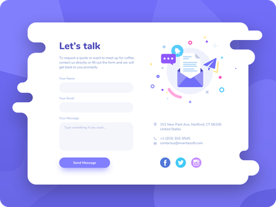 Contact Us #DailyUI day #028 login input input field illustration art illustraion 028 purple socialmedia message email contact form contact us contacts bubble web interface dailyui design ux ui