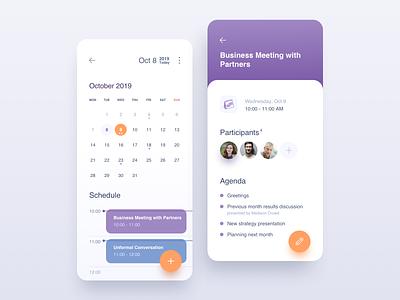 Calendar #DailyUI #day038 date event mobile app 038 tasks task management schedule planning mobile meetup meeting management interface calendar app agenda dailyui design ux ui