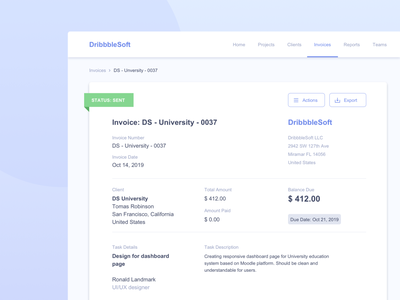 Invoice #DailyUI day #046 blue client payment clean web interface app invoice 046 dailyui design ux ui