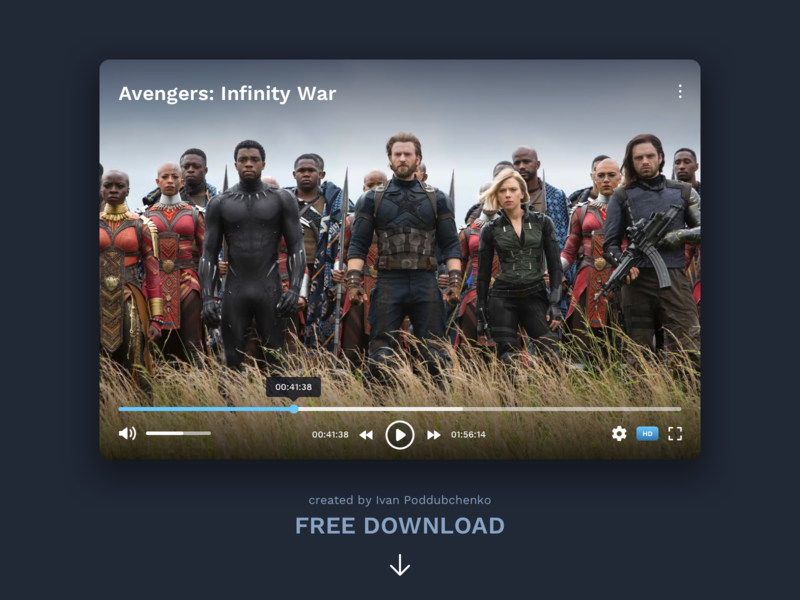 Free Video Player #DailyUI day #057 free download free free sketch controllers youtube movie app video player player video app web interface dailyui design ux ui