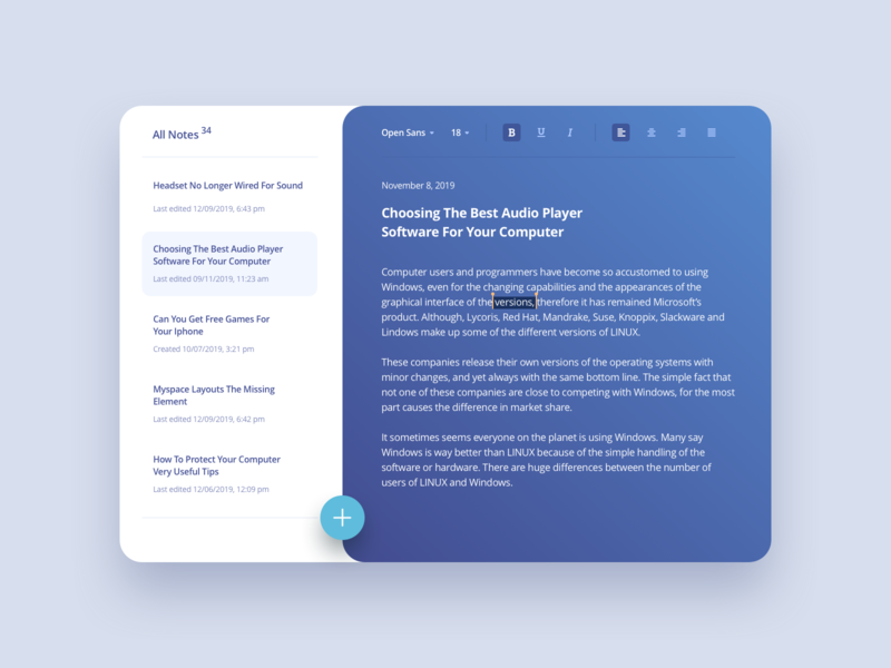 Notes Widget #DailyUI #day065 typography text user interface clean inspiration 065 notes widget notes note web interface dailyui design ux ui