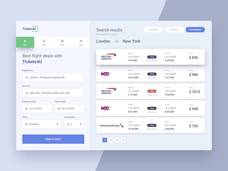 Flight Search #DailyUI #day068 challenge flight booking booking searching 068 search flight flight search app web interface dailyui design ux ui