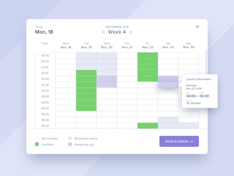 Schedule #DailyUI #day071 e-learning booking calendar web 071 popup schedule interface dailyui design ux ui