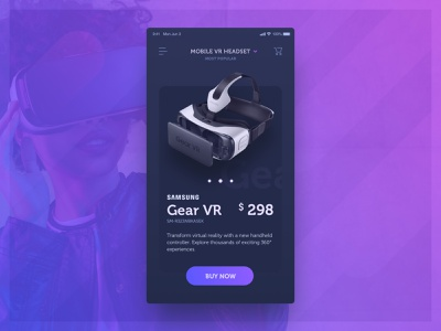 Virtual Reality e-commerce solution #DailyUI #day073 web purple gradient purple shopping ecommerce gear vr ios app ios vr virtual virtual reality app mobile 073 interface dailyui design ux ui