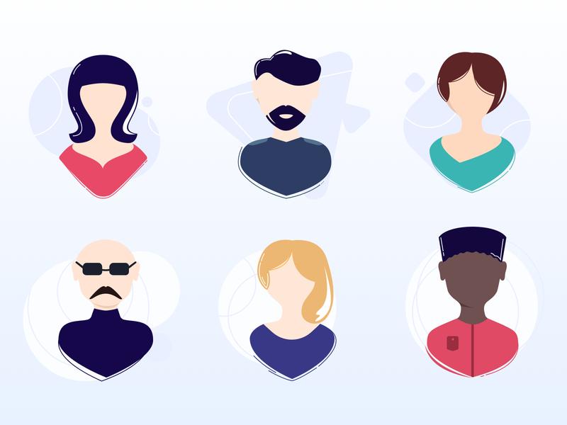 Avatar illustration #dailyUI #day088 vector illustration 088 flat face account avatar icons avatar dailyui design