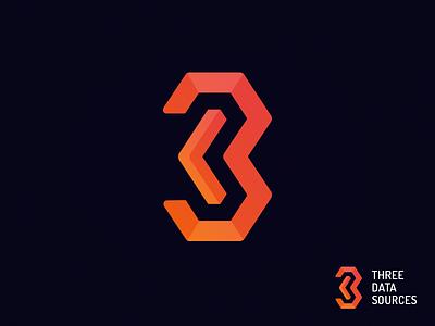 Three Data Sources logo v2 typography three mark logo design concept branding